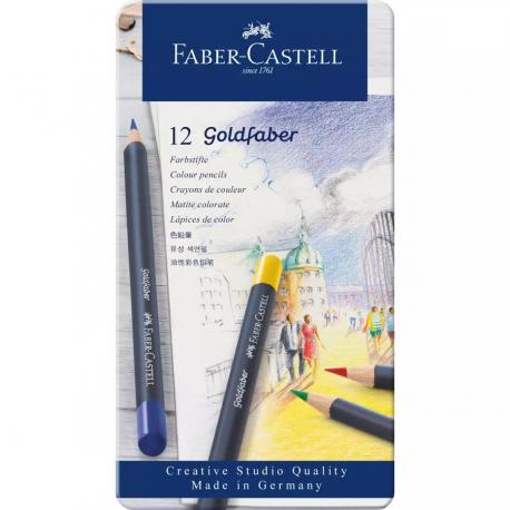 12 LAPICES ACUARELABLES GOLDFABER ESTUCHE METAL - FABER CASTELL